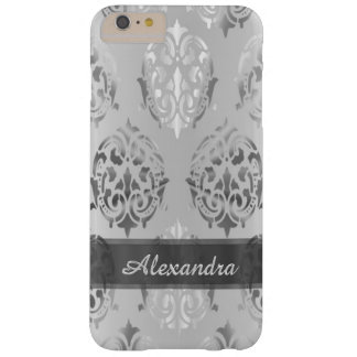 Personalized chic elegant silver gray damask barely there iPhone 6 plus case