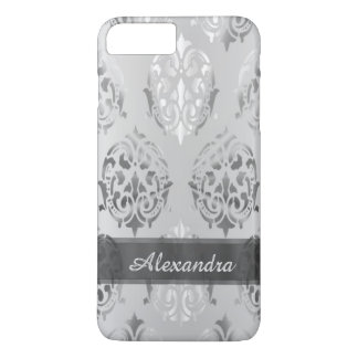 Personalized chic elegant silver gray damask iPhone 7 plus case