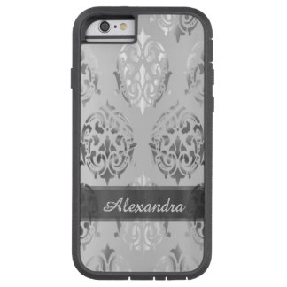 Personalized chic elegant silver gray damask tough xtreme iPhone 6 case