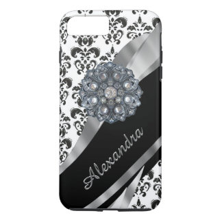 Personalized chic girly vintage damask iPhone 7 plus case