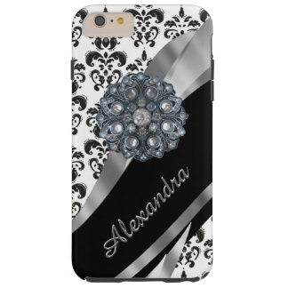 Personalized chic girly vintage damask tough iPhone 6 plus case
