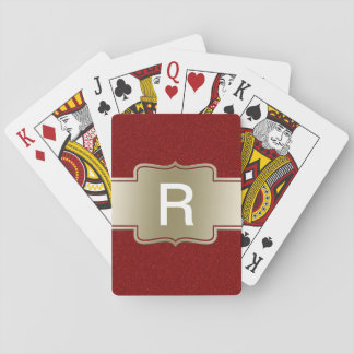 Personalized Chic Gold and Red Glitter Effect Card Decks