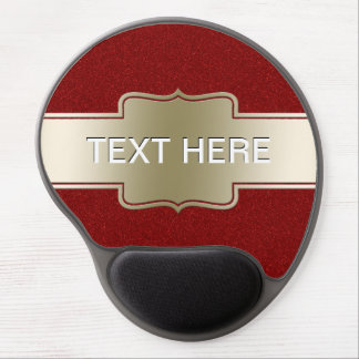 Personalized Chic Gold and Red Glitter Effect Gel Mouse Pad