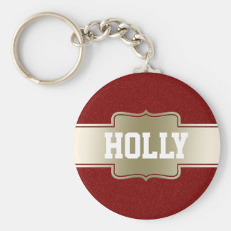 Personalized Chic Gold and Red Glitter Effect Keychain