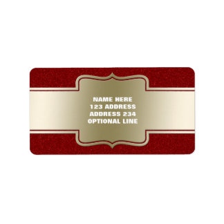 Personalized Chic Gold and Red Glitter Effect Personalized Address Label