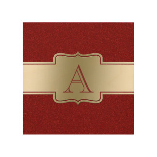 Personalized Chic Gold and Red Glitter Effect Wood Canvas