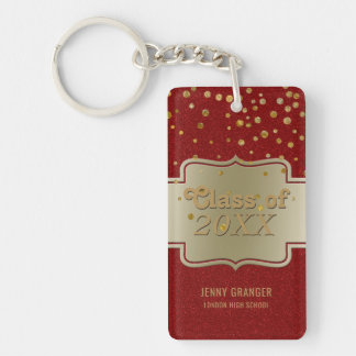 Personalized Chic Gold Red Glitter   Graduation Keychain