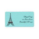 """Personalized Chic Paris Eiffel Tower Address Label<br><div class=""""desc"""">Personalized Pretty Tres Chic Trendy Blue Chevron Paris Eiffel Tower Address Labels.</div>"""