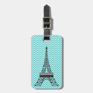 Personalized Chic Paris Eiffel Tower Blue Chevron Luggage Tag