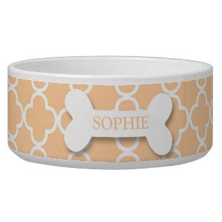 Personalized chic peach dog bone pet food bowl