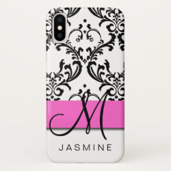 Personalized Chic Pink Black White Damask Monogram iPhone XS Case