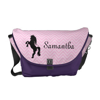 Personalized Chic Pink Chevron Horse Messenger Bag