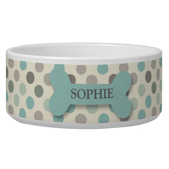 Personalized chic polka dot dog bone pet food bowl