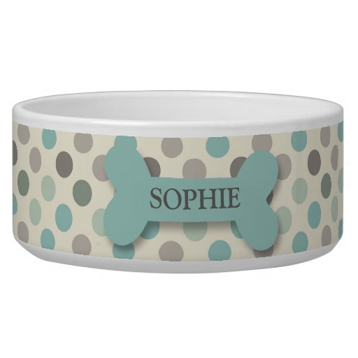 Personalized chic polka dot dog bone pet food bowl