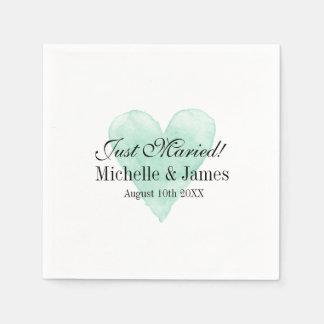Personalized chic turquoise heart wedding napkins