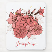Personalized Chic Vintage pink flowers mouse pad