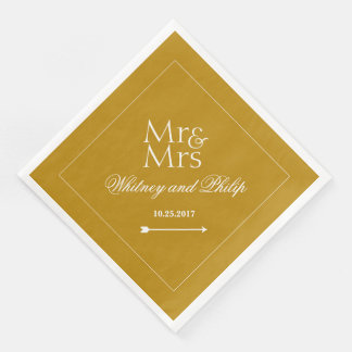 Personalized Chic Wedding Reception Gold Paper Dinner Napkin