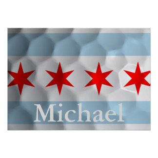Personalized Chicago Flag Golf Ball Dimples Poster