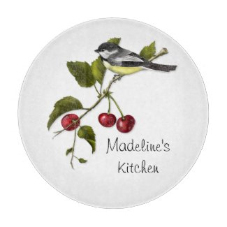 Personalized Chickadee and Cherries on Branch Cutting Board