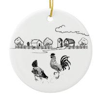 Personalized Chicken Couple Farm Love Christmas Ceramic Ornament