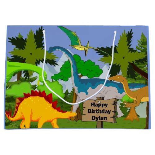 Personalized Child Dinosaur Birthday Large Gift Bag