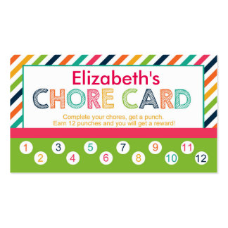 Personalized children's Chore punch card