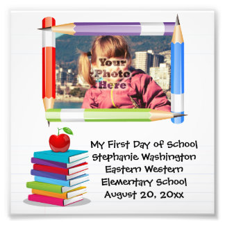 Personalized Children's Kids School Photo Frame Art Photo