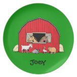Personalized Child's Barn and Animals Plate Plate