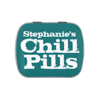 Personalized Chill Pills Mint/Candy Container Jelly Belly Tin