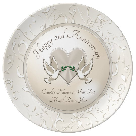 Personalized China 2nd Anniversary Gifts For Wife Dinner Plate
