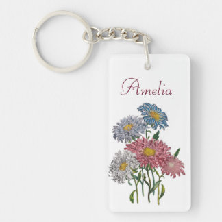 Personalized China Asters Keychain