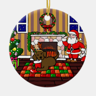 Personalized Chocolate Lab Christmas Cartoon Double-Sided Ceramic Round Christmas Ornament