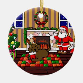 Personalized Chocolate Lab Christmas Cartoon Christmas Tree Ornament