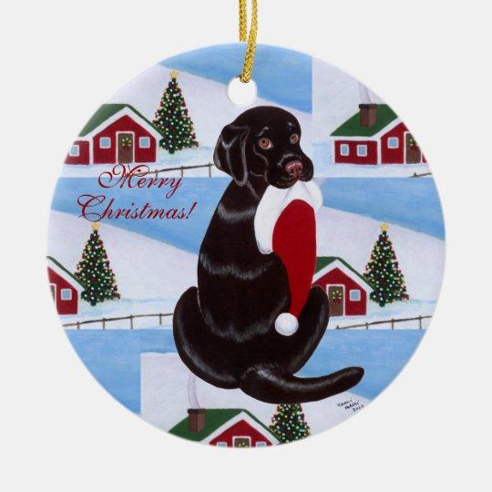 Personalized Chocolate Lab Christmas Santa Hat Ceramic Ornament