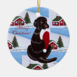 Personalized Chocolate Lab Christmas Santa Hat Ornaments