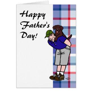 Personalized Chocolate Lab Daddy Plaid Card