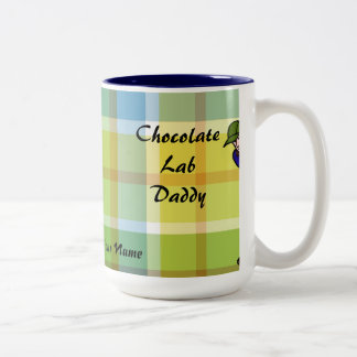 Personalized Chocolate Lab Daddy Plaid Coffee Mug