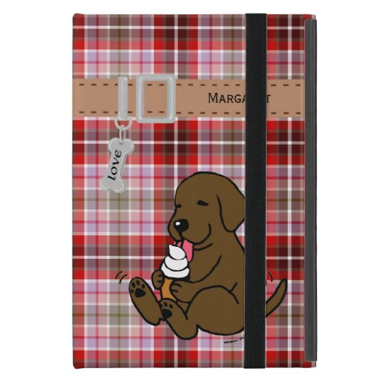 Personalized Chocolate Lab Licking Ice Cream iPad Mini Covers