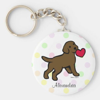 Personalized Chocolate Lab Puppy and Red Heart Basic Round Button Keychain