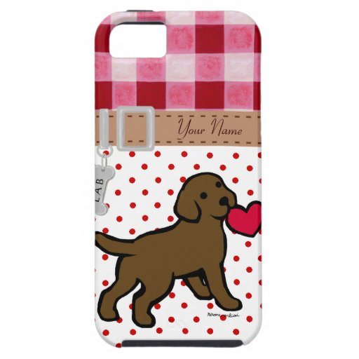 Personalized Chocolate Lab Puppy and Red Heart iPhone 5 Covers