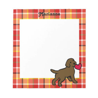 Personalized Chocolate Lab Puppy and Red Heart Notepad
