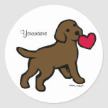 Personalized Chocolate Lab Puppy and Red Heart Stickers