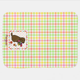 Personalized Chocolate Lab Puppy Flower Basket Baby Blanket