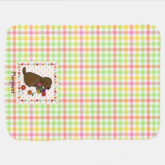 Personalized Chocolate Lab Puppy Flower Basket Stroller Blanket
