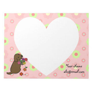Personalized Chocolate Lab Puppy Flowers Cartoon Memo Note Pad