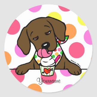 Personalized Chocolate Lab Puppy Ice Cream Classic Round Sticker
