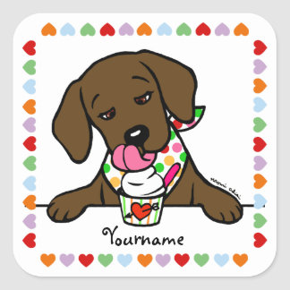 Personalized Chocolate Lab Puppy Ice Cream Square Sticker