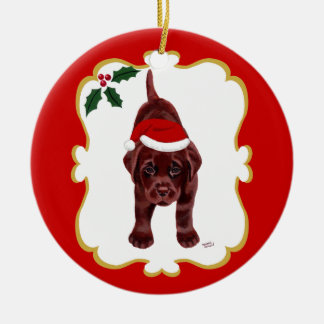 Personalized Chocolate Lab Puppy with Santa Hat 2 Ornament