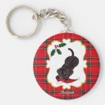 Personalized Chocolate Lab Puppy with Santa Hat Keychain