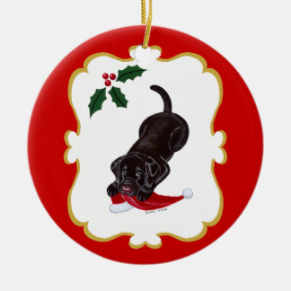 Personalized Chocolate Lab Puppy with Santa Hat Ornaments